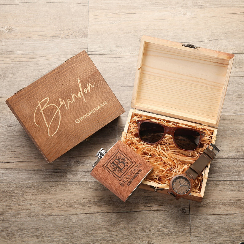 Groomsmen gift box with watch, sunglasses and a flask