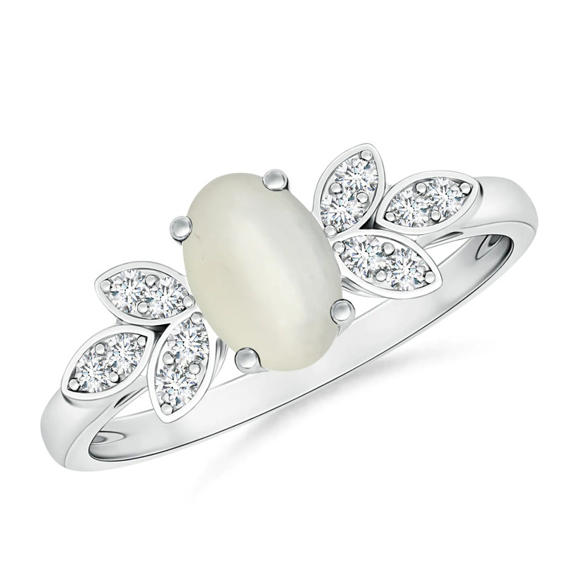 Moonstone and diamond engagement ring