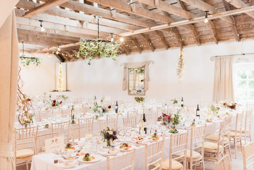 The barn at Aswanley decorated for a wedding