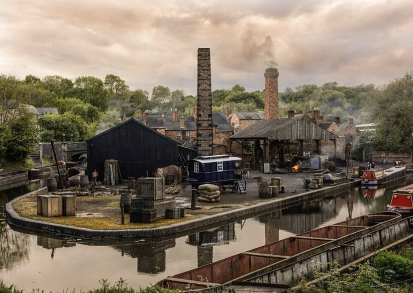 Recreation of an industrial yard scene in the midlands next to a canal with narrowboats