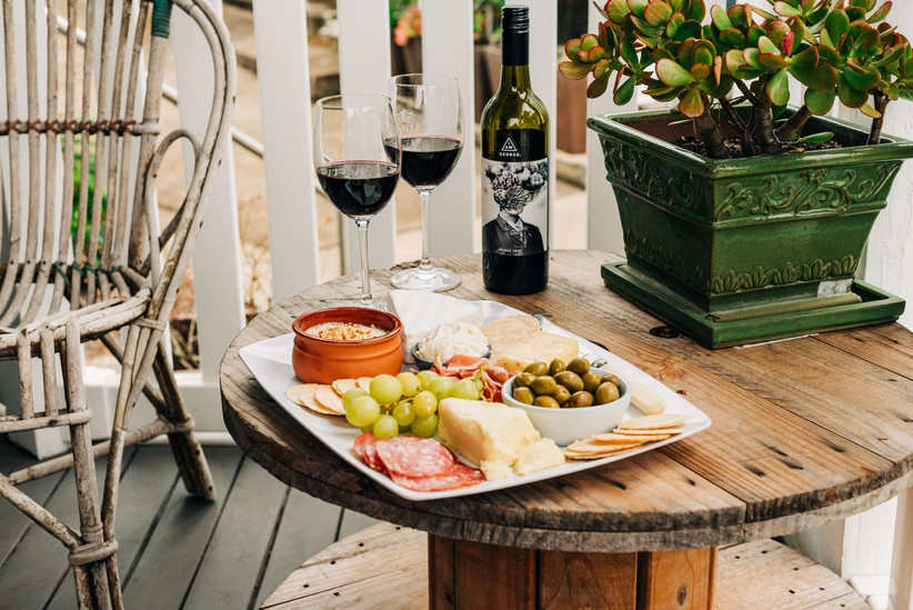 Cheese, wine and nibbles in the garden