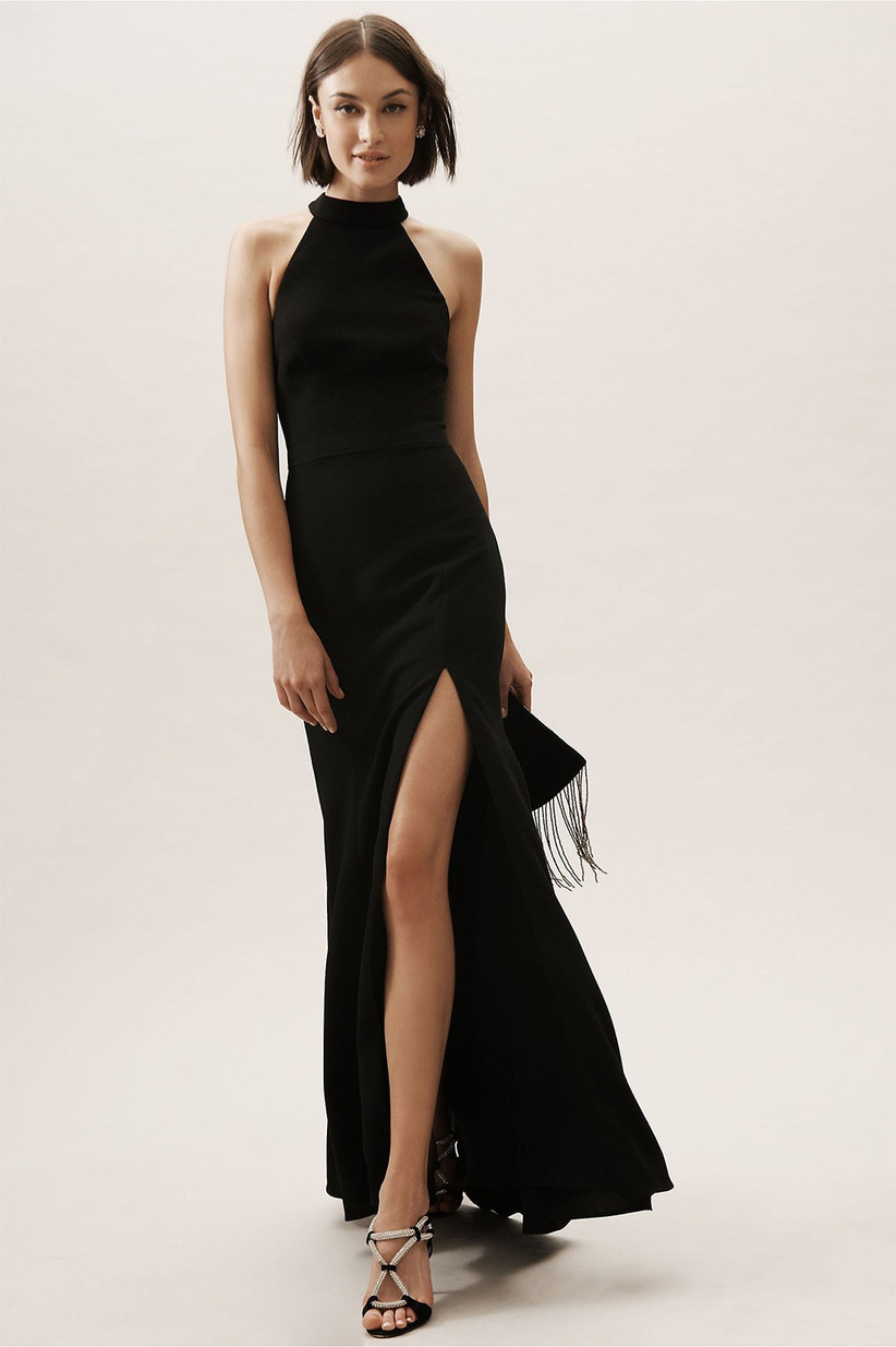 Halterneck black bridesmaid dress