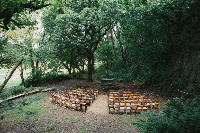 Outdoor ceremony set-up at fforest farm