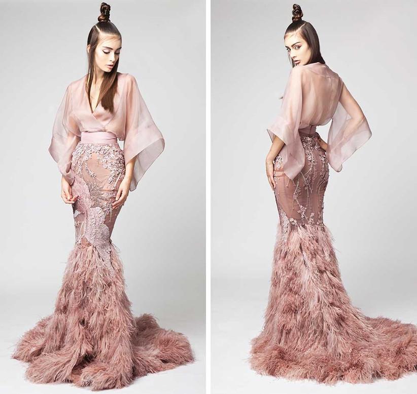 pink-feathered-wedding-dress-sheer-skirt