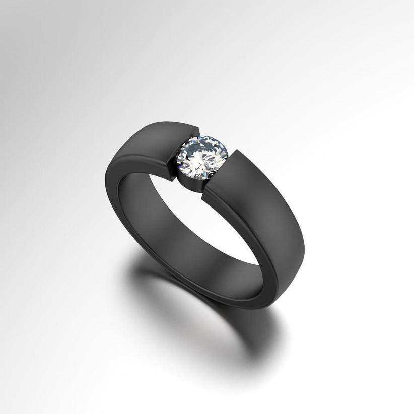 Black ring with diamond