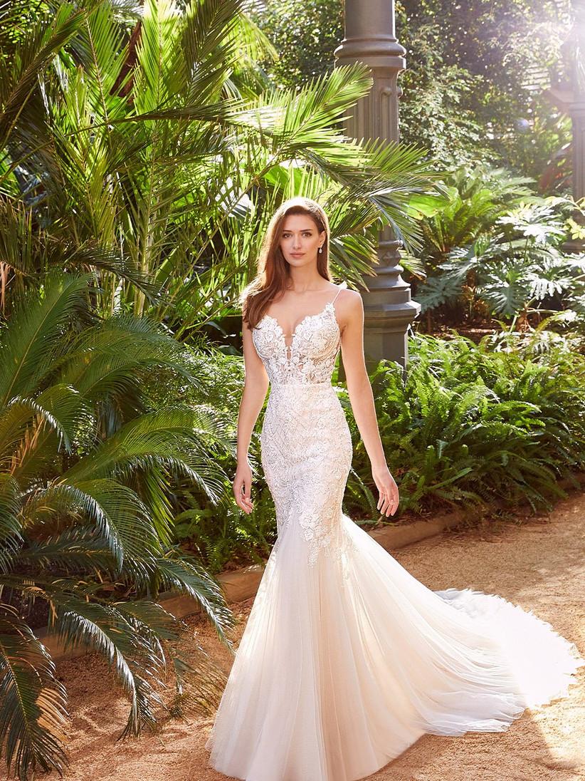 Pebbles lace and chiffon mermaid wedding dress