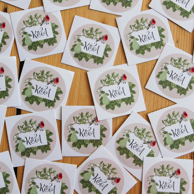 Festive personalised wedding stickers