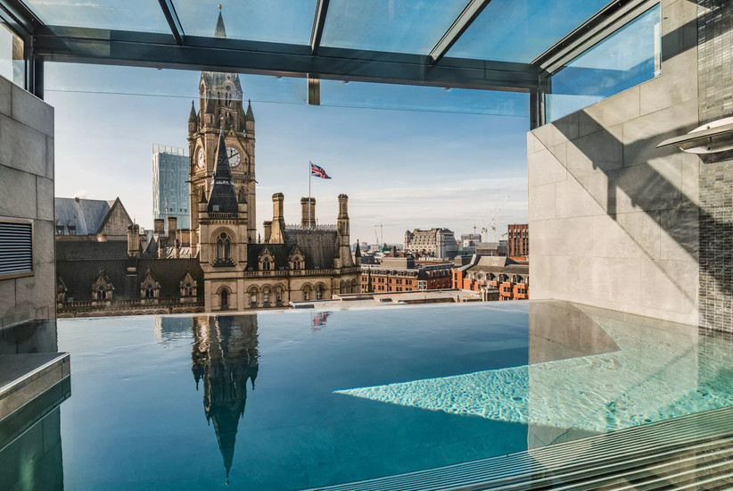 The infinity pool at Manchester wedding venue King Street townhouse