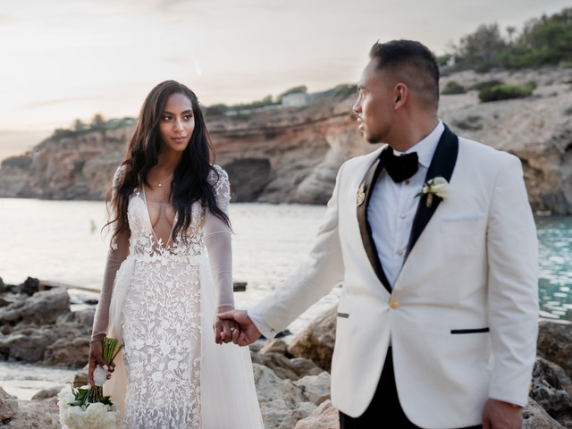 A Luxe, Modern, Blush Pink and Gold Destination Wedding at Elixir Ibiza + a Berta Gown