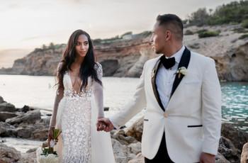 A Luxe, Modern, Blush Pink and Gold Destination Wedding at Elixir Ibiza + a Berta Gown