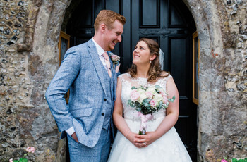 A Charming, Kent Village Hall Wedding at the Bride's Childhood Church with a Ronald Joyce Dress