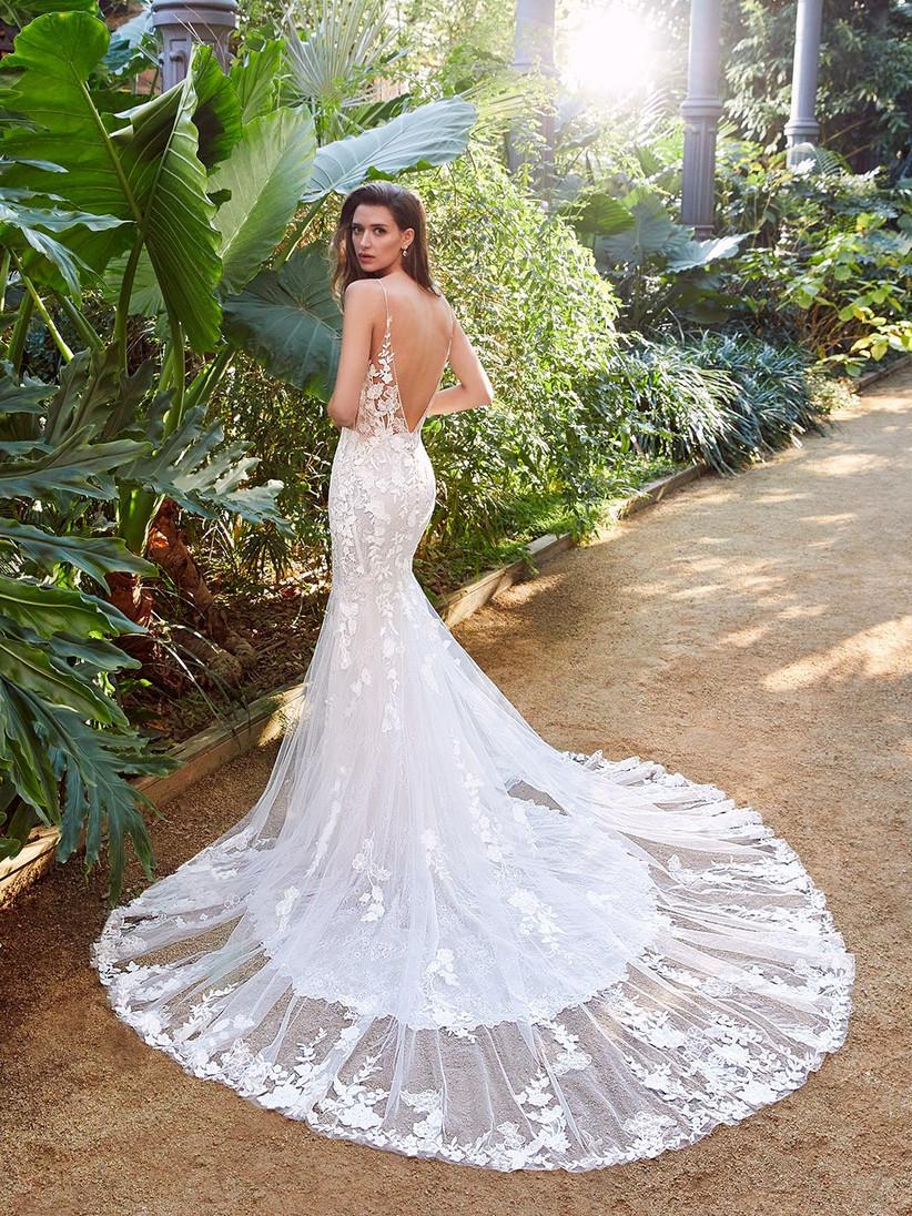 Enzoani Peach mermaid wedding dress from the back