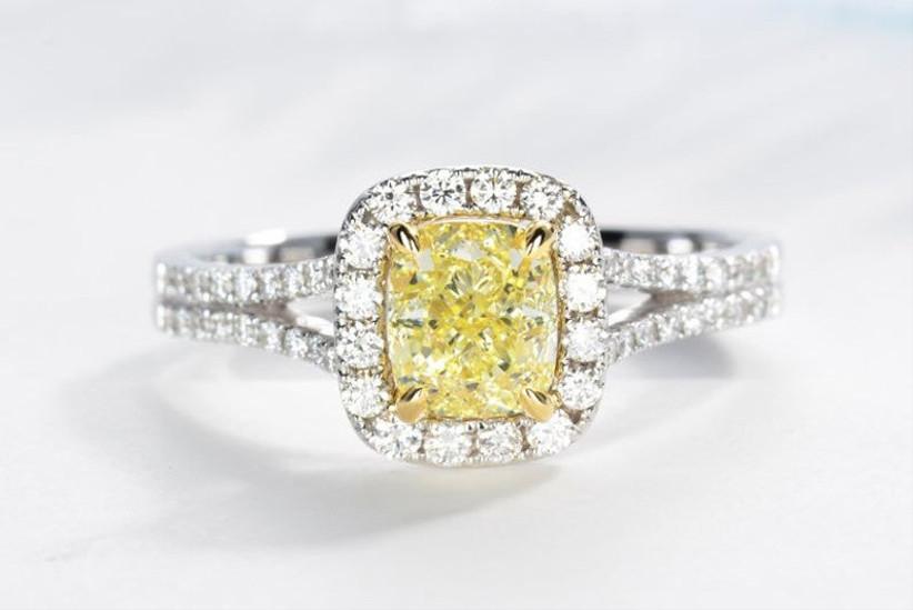 Halo yellow diamond ring