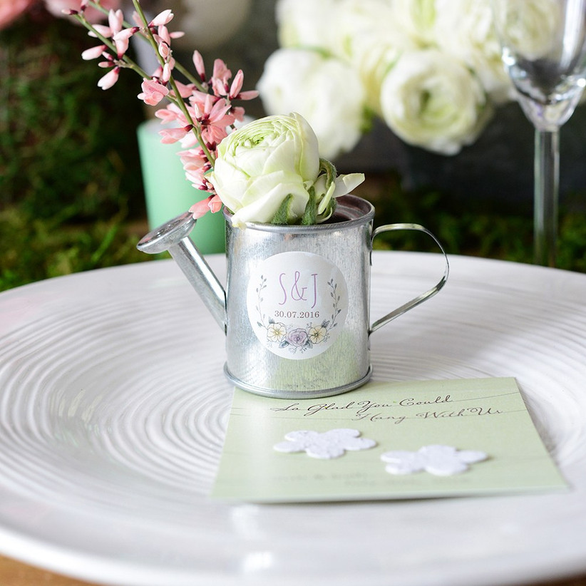 Mini watering can wedding favour with flowers