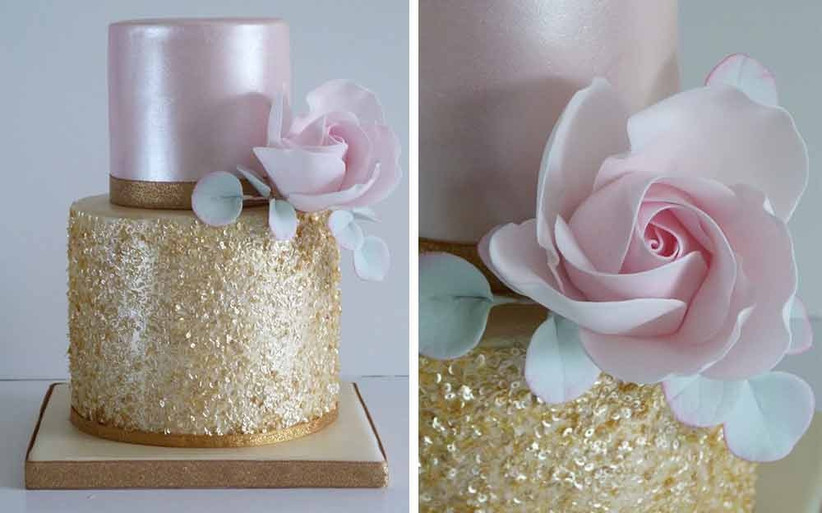pink-and-gold-sparkly-wedding-cake