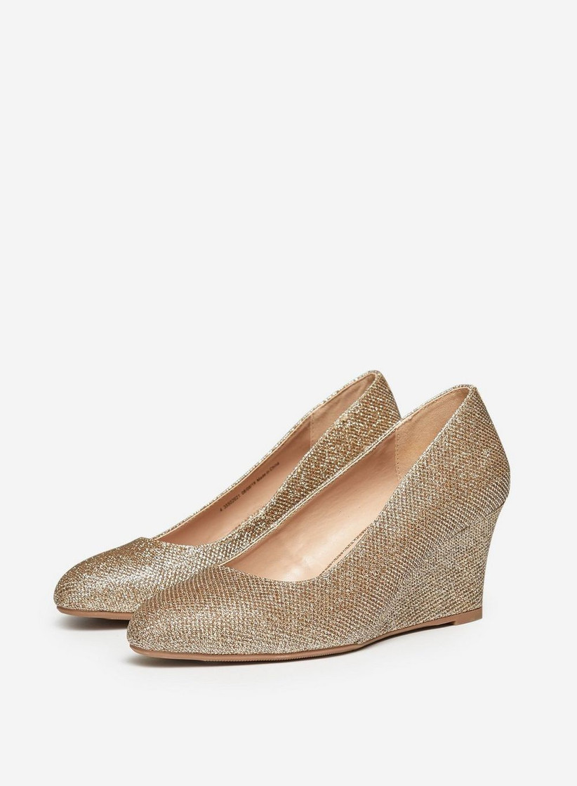 Dorothy Perkins Wide Fit Gold 'Dreamer' Wedge Court Shoes