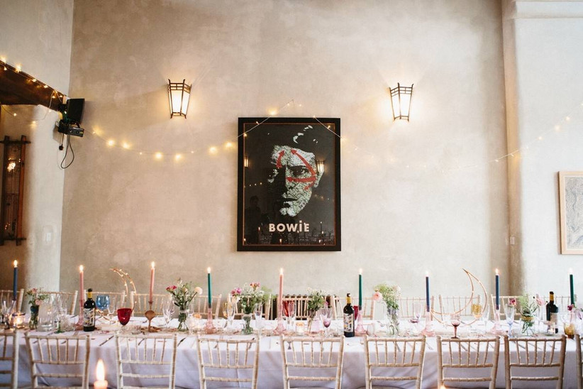Bowie photo hanging on the wall of a wedding dining area