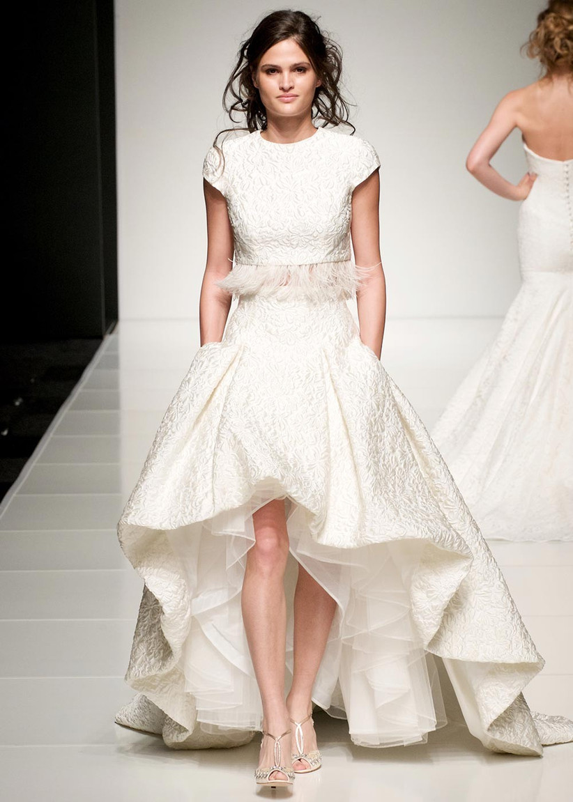 feathered-two-piece-wedding-dress