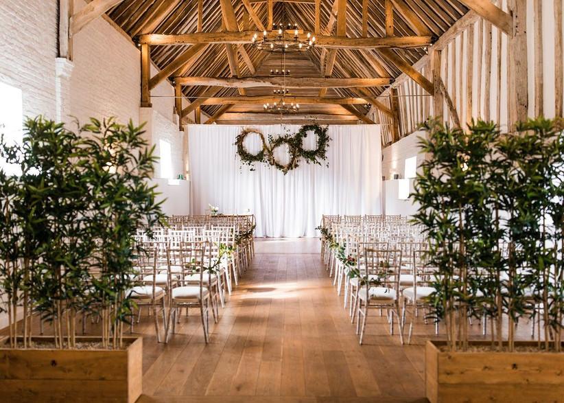 Interior of Hertfordshire wedding venue Barn at Alswick