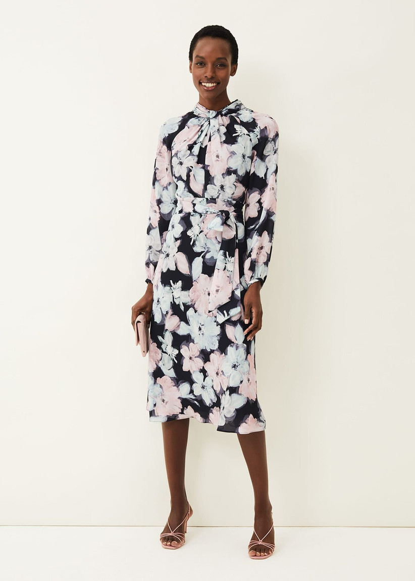 Navy, pink and cream floral dress with high neck