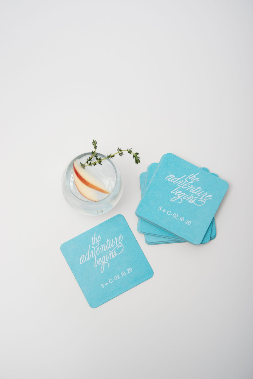 Blue personalised coasters wedding favour
