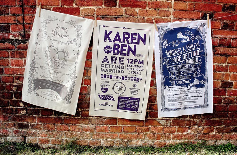 wedding-tea-towels-as-alternative-invitation