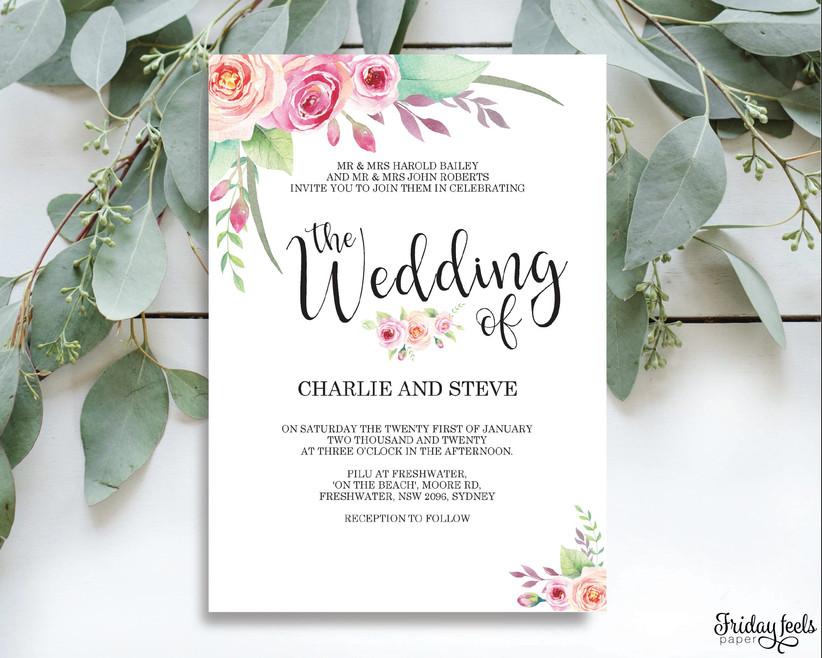 Blush Pink Rose Wedding Classic Wedding Invitation DIY Wedding Template DEMO AVAILABLE Printable Invitation Rose Wedding Invitation