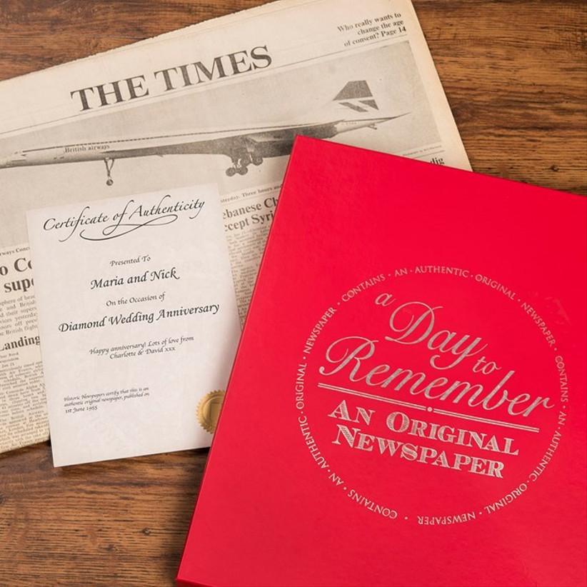 Diamond wedding anniversary newspaper gift