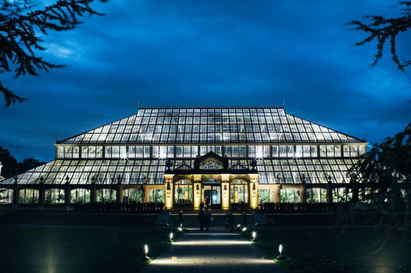 Conservatory at Kew Gardens lit up at night
