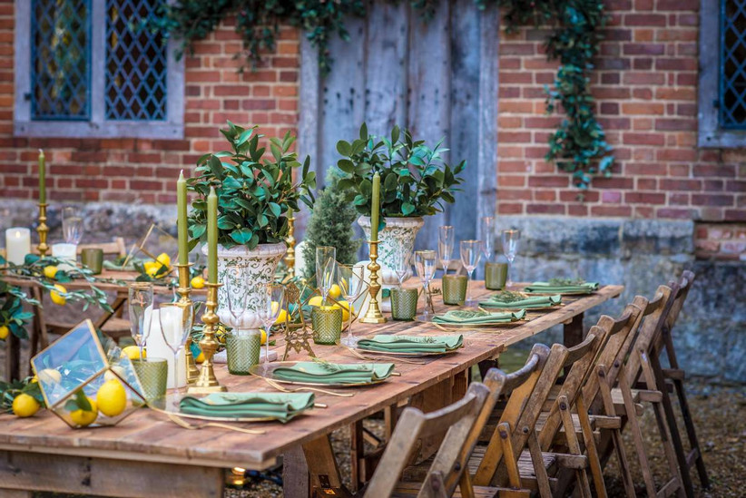 Outside dining table with greenery and lemon details