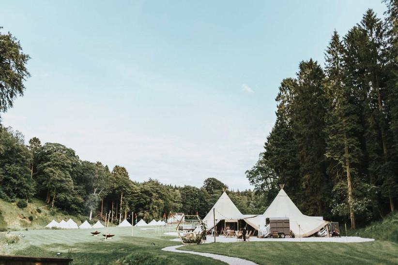 Tipis at Lancashire wedding venue Gisburne Park Estate
