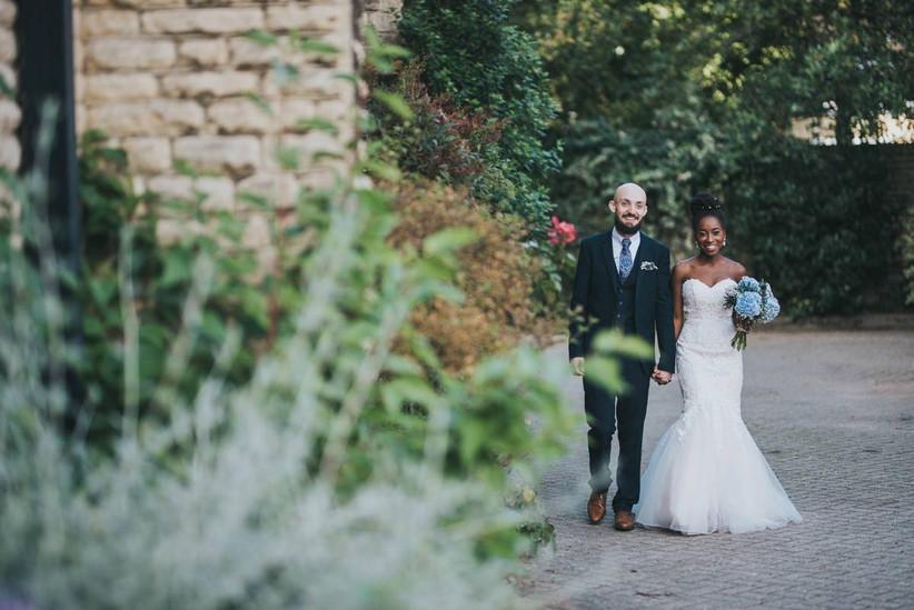 Bride and groom exploring the wedding venue