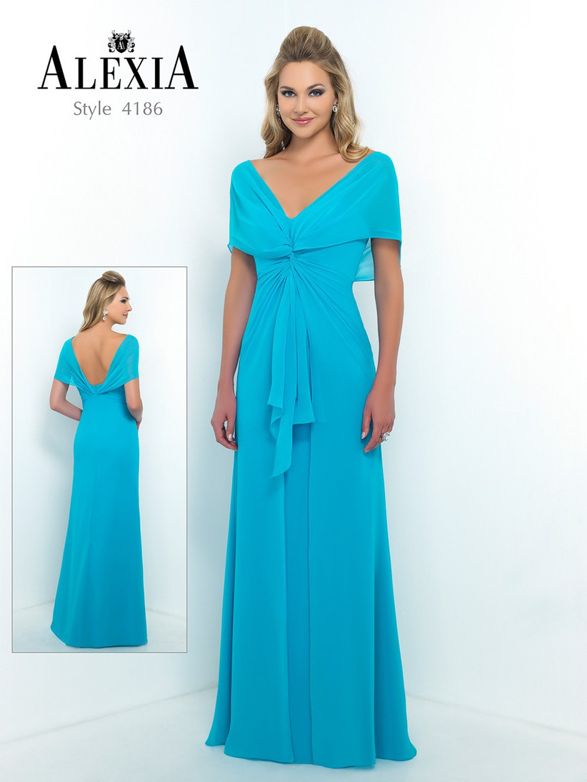 beautiful-blue-winter-bridesmaid-dress-from-alexia-designs-that-has-stylish-batwing-sleeves
