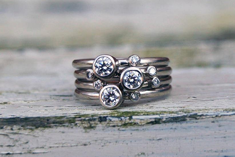 Diamond stacked rings