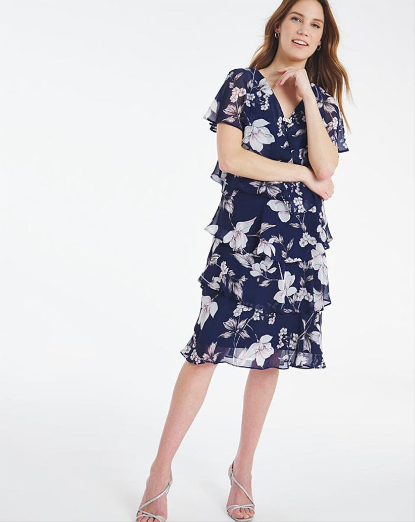 Navy pink print dress with tiers