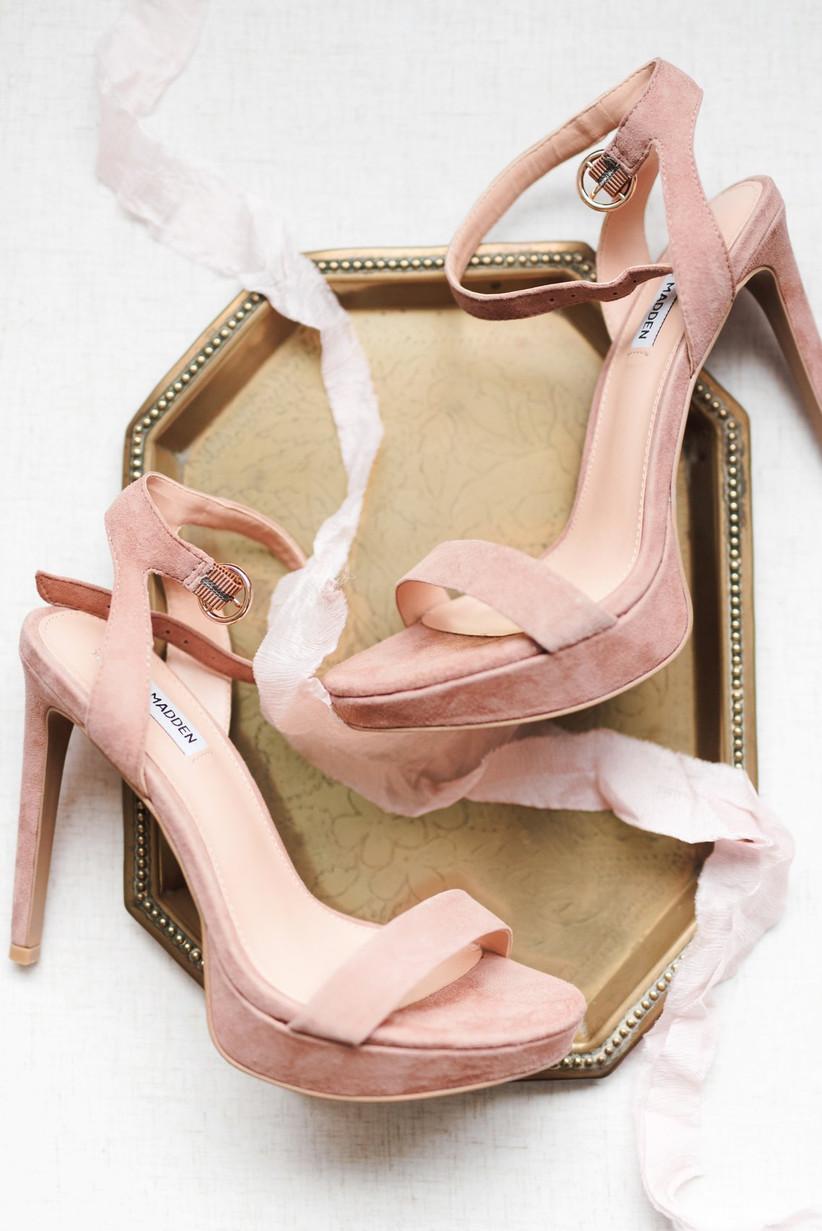 Pink high heeled wedding shoes