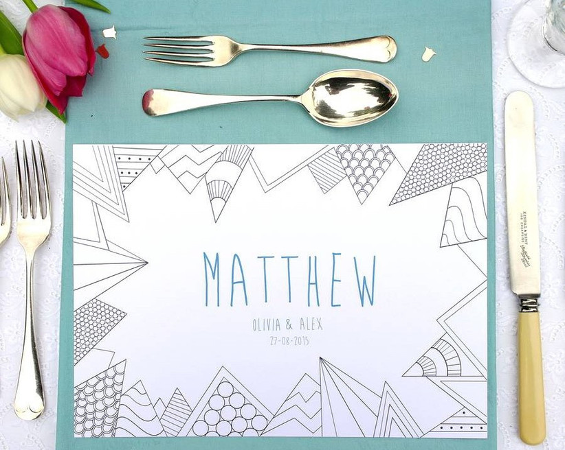 Personalised colouring book table place mats