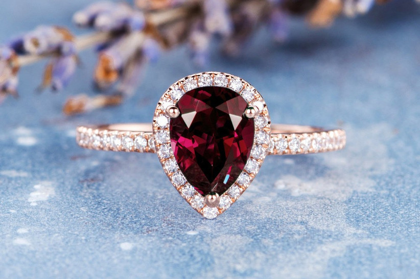 Ruby pear shaped engagement ring