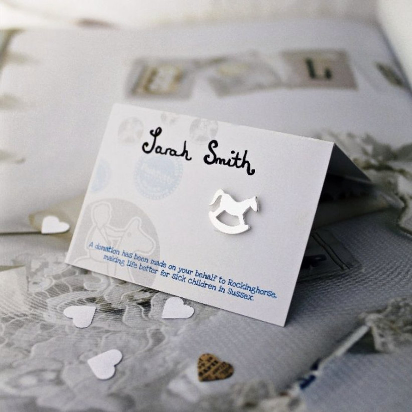 Charity Wedding Favours - rocking horse pin