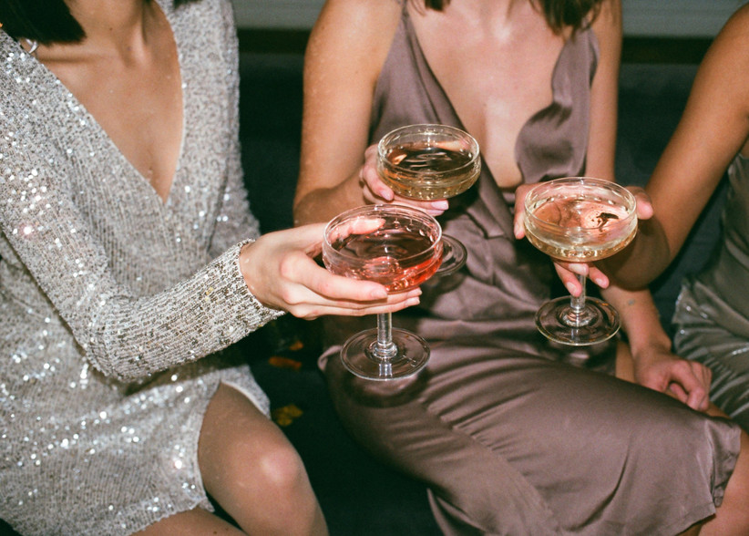 Girls drinking champagne on a night out