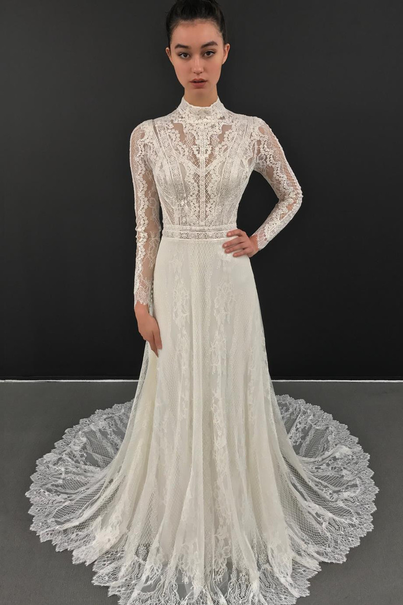 High neck lace wedding dress for older brides