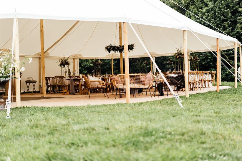 Wooden benches in a wedding tipi