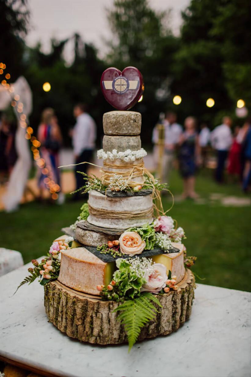 Cheese wheel rustic wedding cake