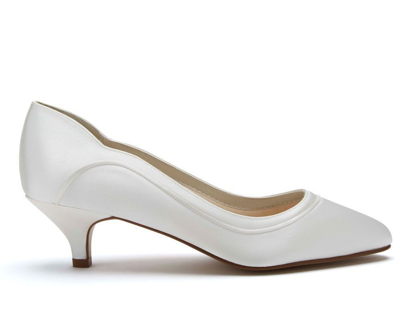 Rainbow Club Hollie Ivory Satin Low Heel Court Shoes