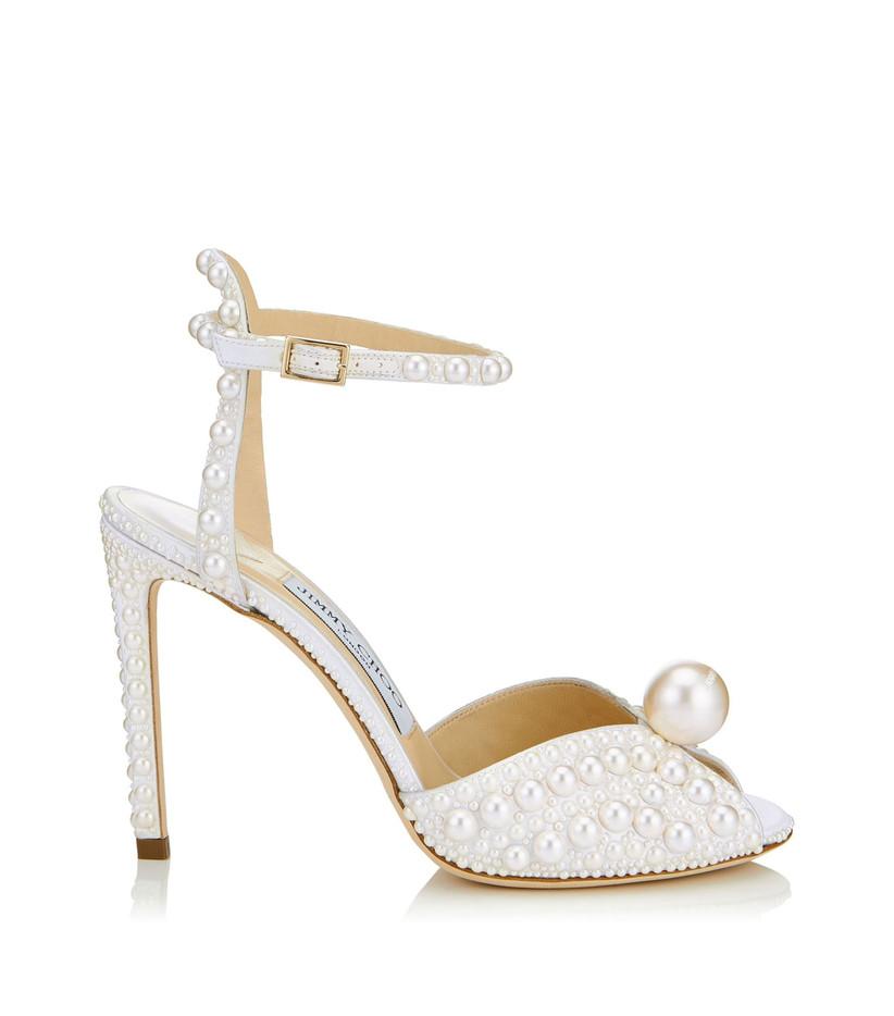 Pearl studded bridal heel