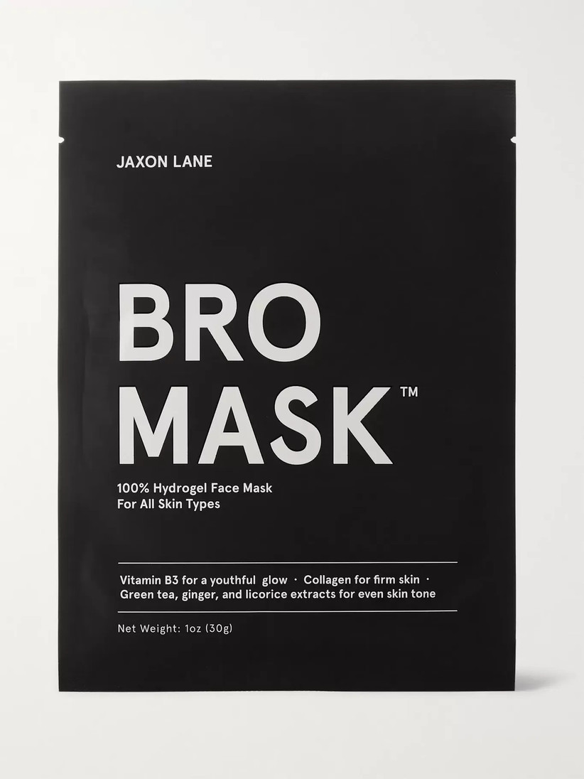 A black and white packet of four Bro Mask sheet masks