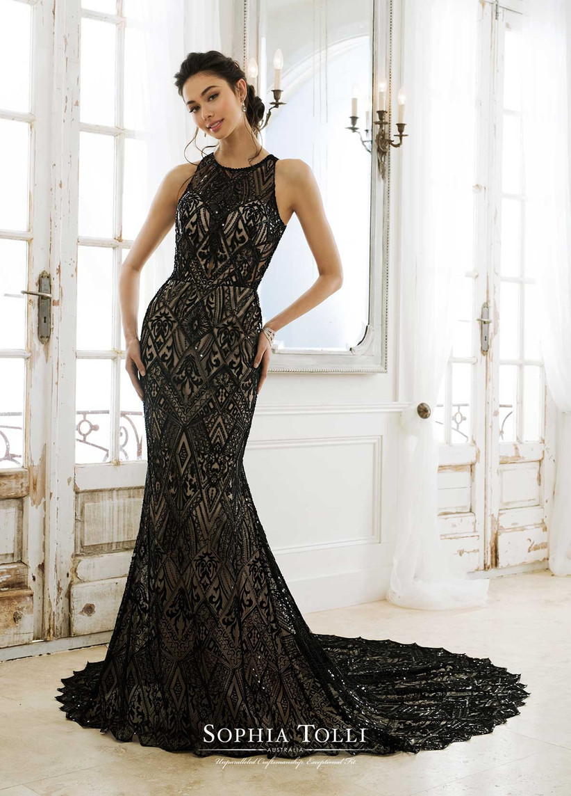 coloured wedding dresses black