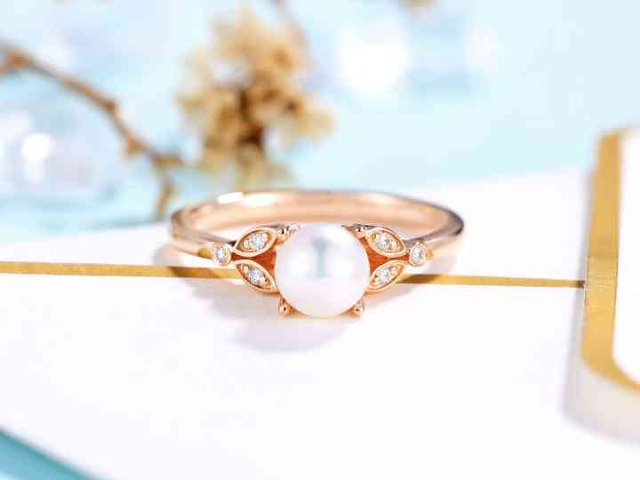 pearl vintage ring Diamond Pearl Gold Ring 14k gold pearl ring White Pearl Ring Pearl Wedding Ring pearl engagement ring rose gold
