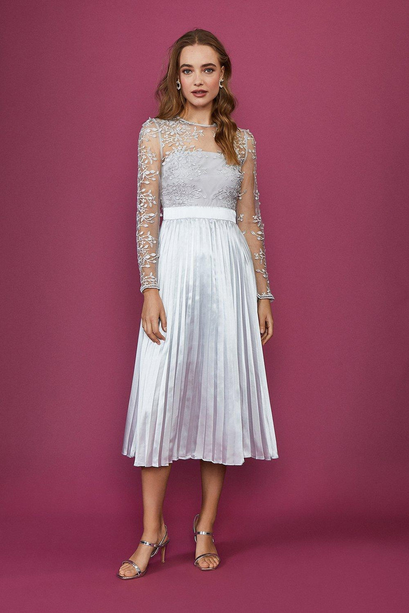 Silver lace midi dress for older brides