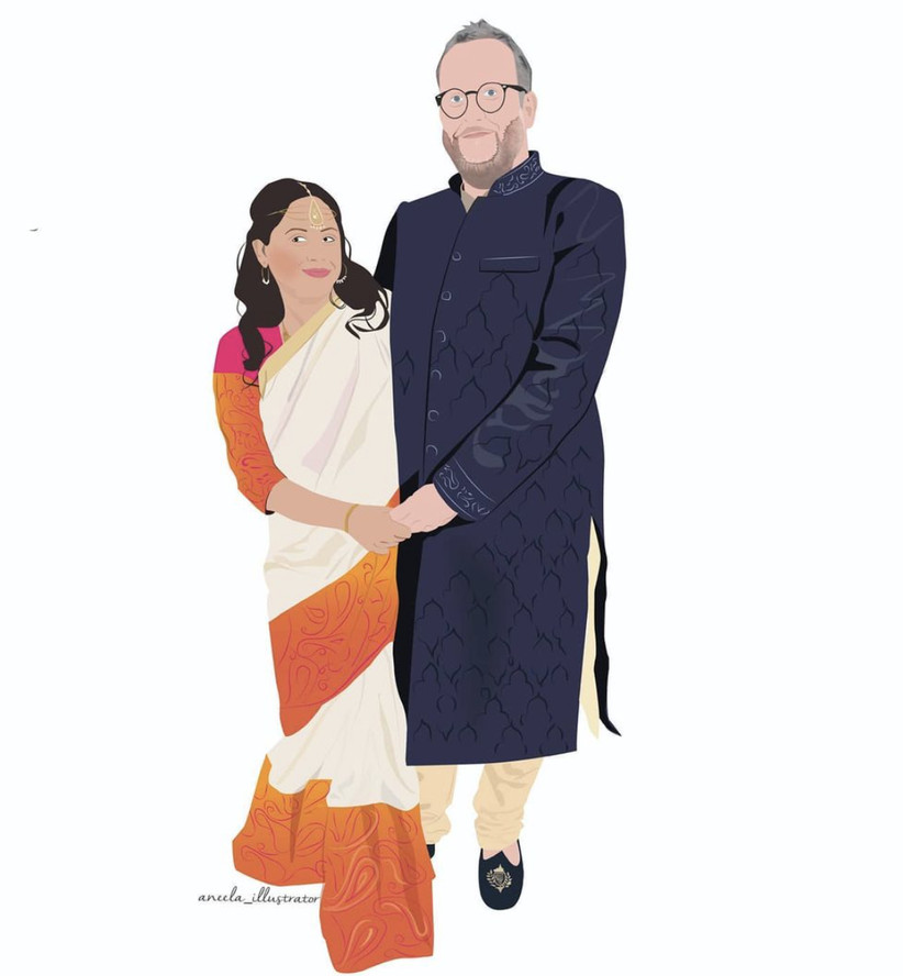 Graphic colourful illustration of an Indian bride wearing a headpiece and cream, gold, orange and pink sari holding her white husband's hand who's wearing glasses and a navy blue sherwani coat with cream trousers and navy loafers